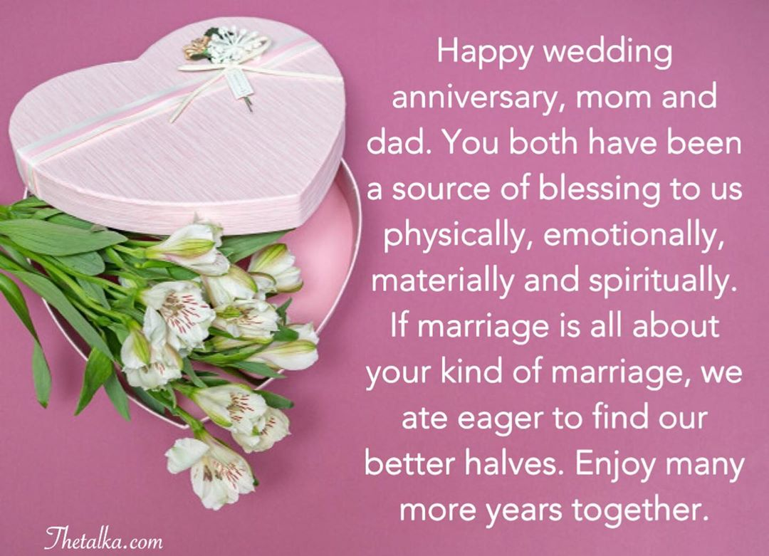 Christian Wedding Anniversary Wishes To Parents