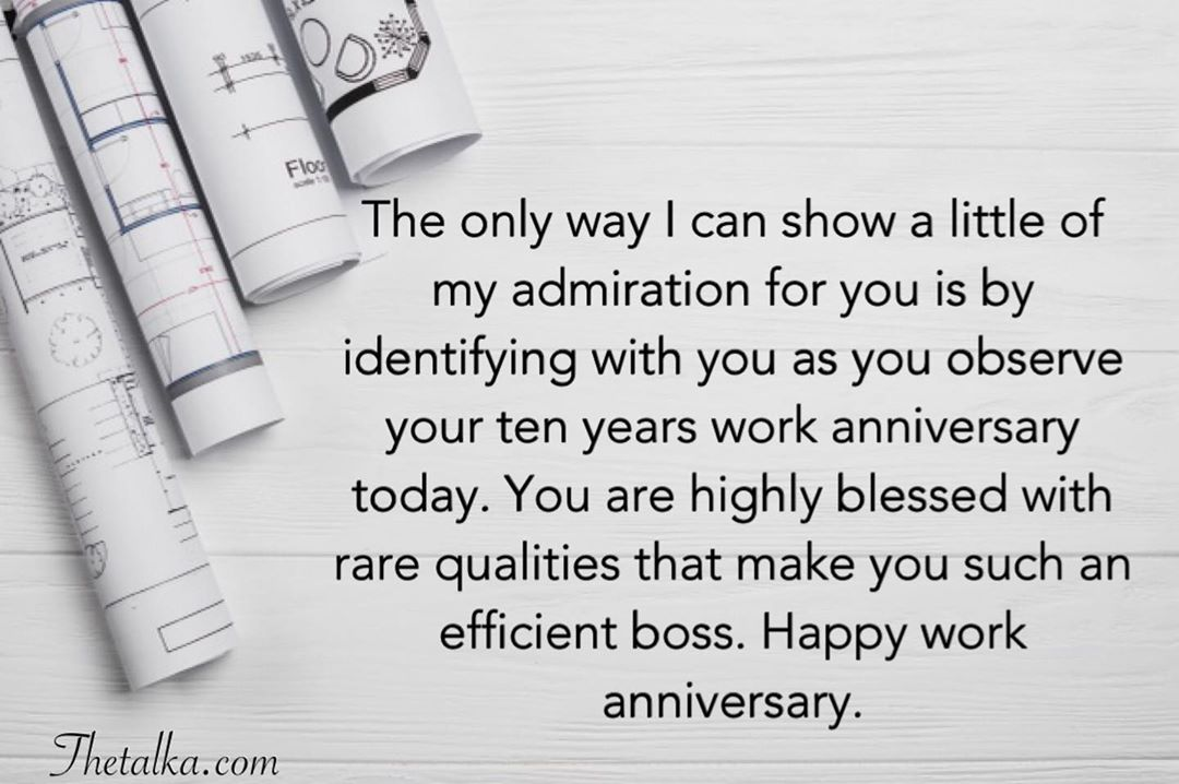 Work Anniversary Wishes For Boss